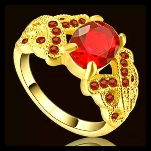 ♥️Gold & Red♦️Crystal Ring♥️
